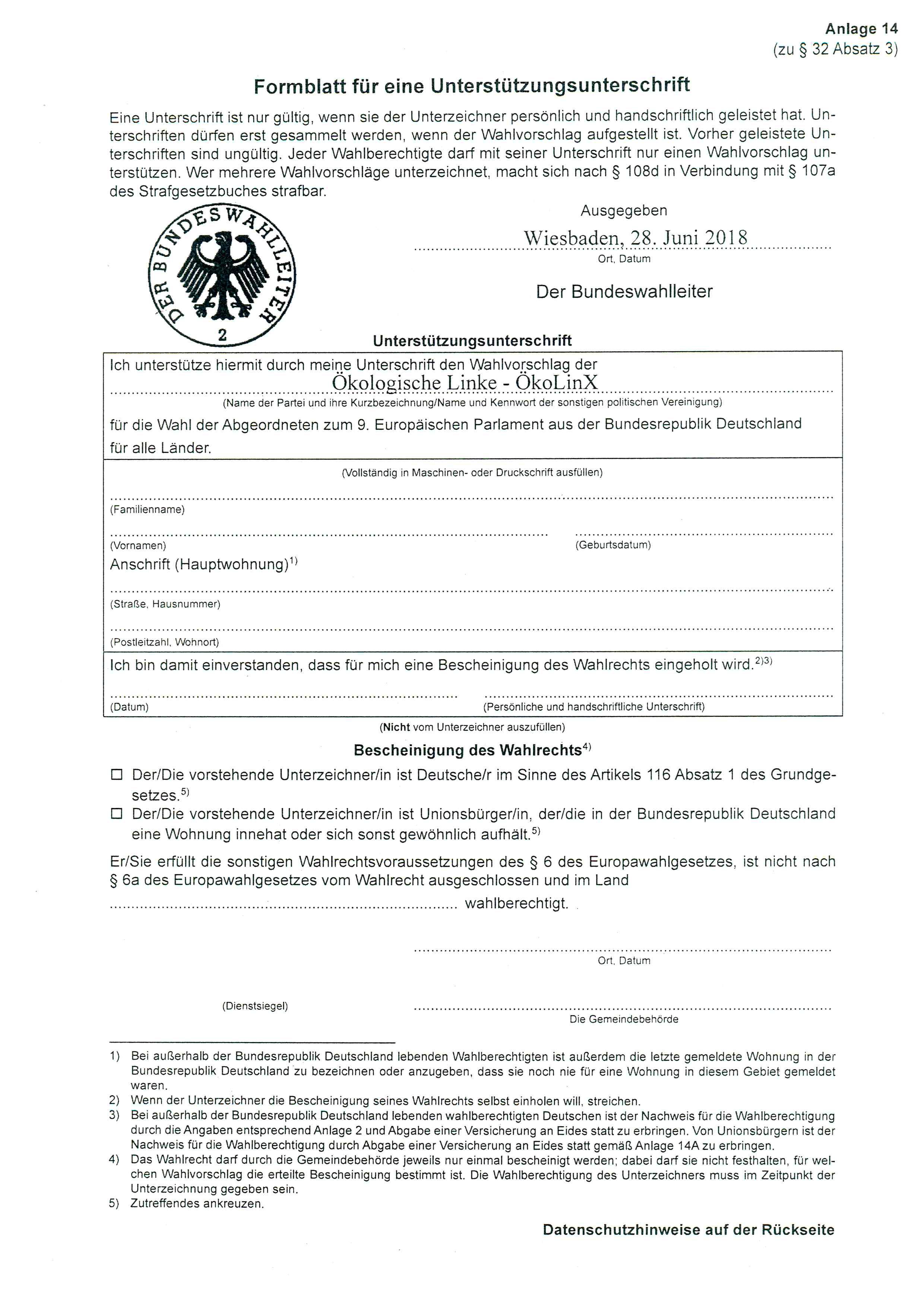 Europawahl 2019 – 4000 Unterstützungsunterschriften gesucht!  Formular für eine Unterstützungsunterschrift Ökologische Linke, ÖkoLinX