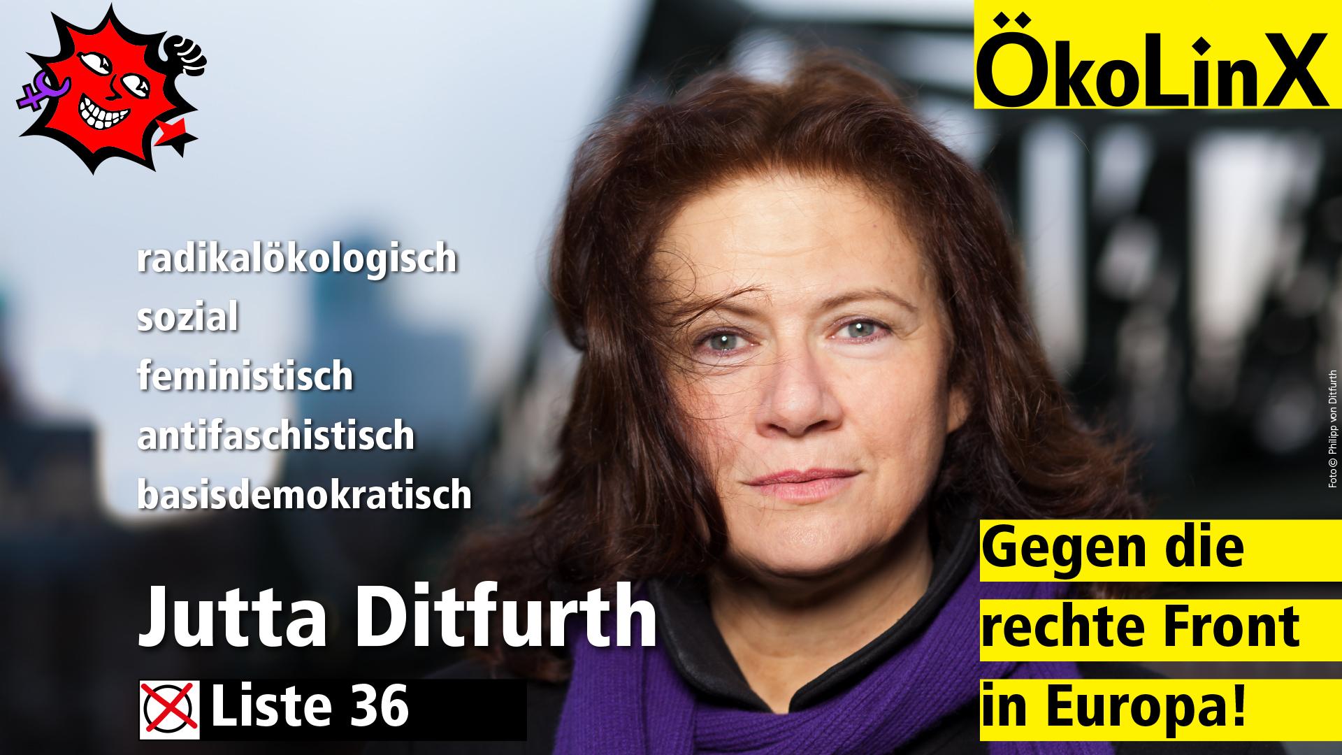 Jutta Ditfurth: Wählt bei der Europawahl ÖkoLinX  Wahlspot (Rundfunk)