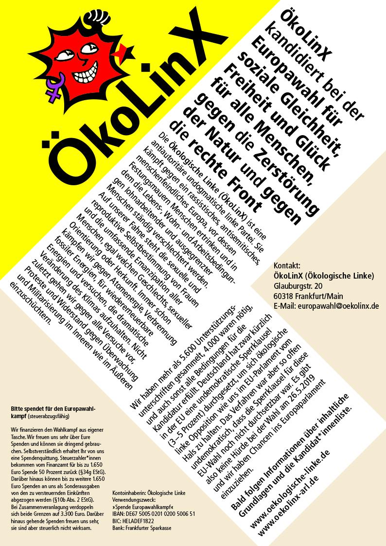 ÖkoLinX kandidiert bei der Europawahl für soziale Gleichheit, Freiheit und Glück für alle Menschen, gegen die Zerstörung der Natur und gegen die rechte Front